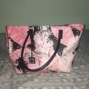 Kate Spade Pink Feather Large Tote Purse